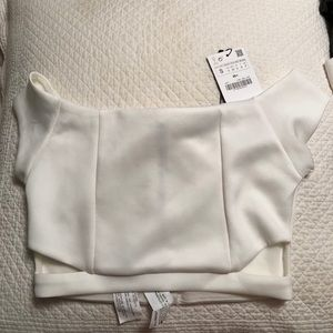 Zara crop top white NWT off the shoulder